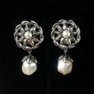 Givenchy silverplated wheel w/pearl drop earrings